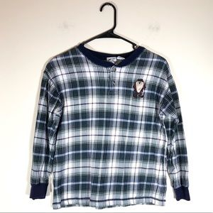 90s Warner Bros Tasmanian Devil Plaid Henley Shirt